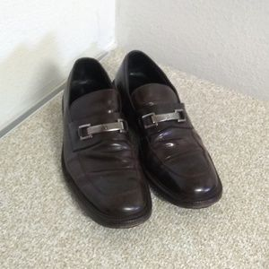 Gucci Brown Leather Slip On Loafers